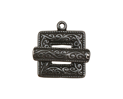 Gunmetal Scroll Square Toggle Clasp 22x18mm, 21mm bar