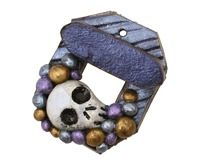 Poison Tree Polymer Clay Blue Skull Toggle Clasp 27x22mm, 21mm bar