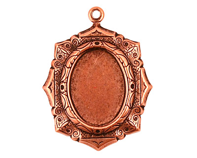 Stampt Antique Copper (plated) Egyptian Mosaic Oval Setting 13x18mm
