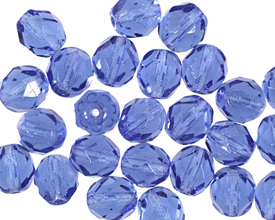 Czech Fire Polished Glass Sapphire Round 8mm