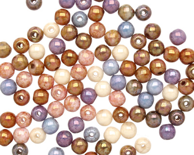 Czech Glass Opaque Luster Mix Round 4mm