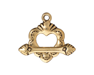 TierraCast Antique Gold (plated) Sacred Heart Toggle Clasp 18x25mm