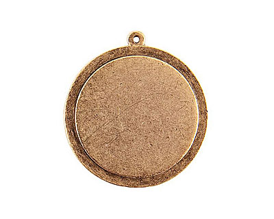 Nunn Design Antique Gold (plated) Raised Tag Grande Circle Pendant 37x40mm