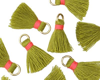 Olive Green w/ Pink Binding & Jump Ring Thread Tassel 18mm