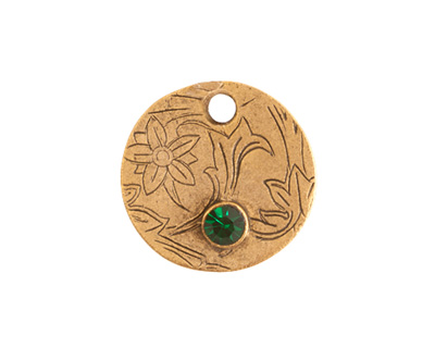Nunn Design Antique Gold (plated) Decorative Small Circle Tag w/ Emerald Crystal 20mm