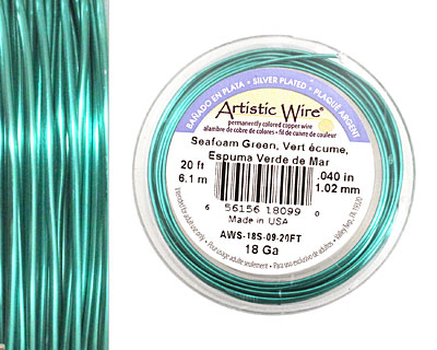 Artistic Wire Silver Plated Seafoam Green 18 gauge, 20 feet