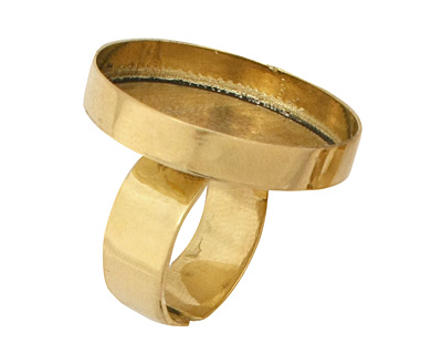 Brass Adjustable Ring Circle Bezel 27mm
