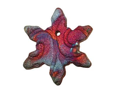 XAZ Raku Rust Snowflake Pendant 40x43mm
