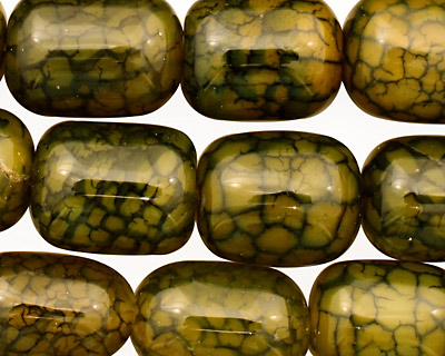 Olive Fire Agate Barrel 18-20x13-14mm
