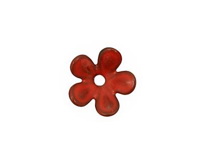 C-Koop Enameled Metal Medium Red 5 Petal 15mm