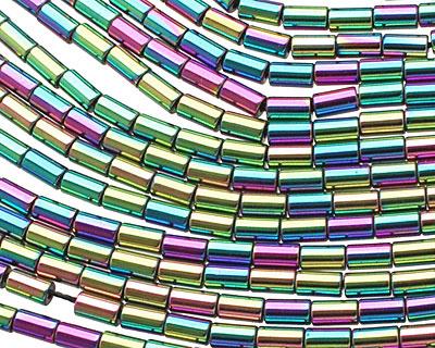 Rainbow Hematite (plated) Tube 5x3mm