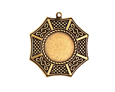 Stampt Antique Brass Bagua Round Setting 13mm