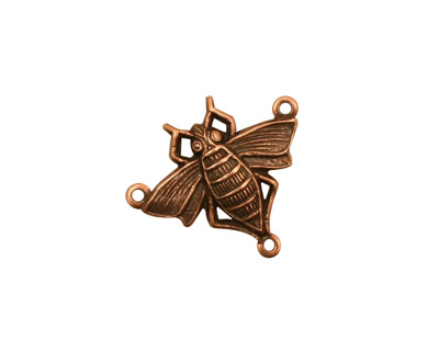 Stampt Antique Copper (plated) Queen Bee 3-Ring Connector 20x17.5mm