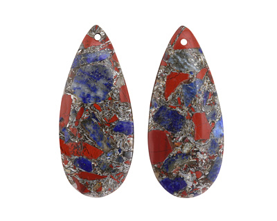 Lapis, Red Jasper & Pyrite Mosaic Teardrop Pendant Pair 18x42mm