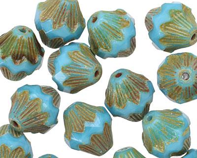 Czech Glass Blue Opal Picasso Baroque Bicone 13x11mm
