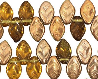 Czech Glass Antique Shimmer Leaf Drop 8x12mm