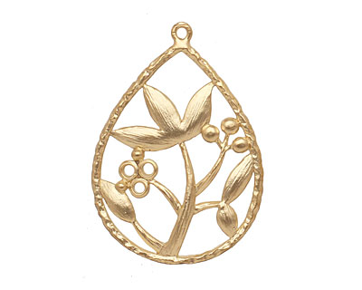 Ezel Findings Gold (plated) Lotus Drop 22x31mm