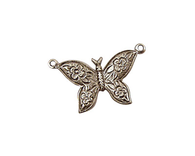 Stampt Antique Pewter (plated) Etched Butterfly Connector 24x18mm