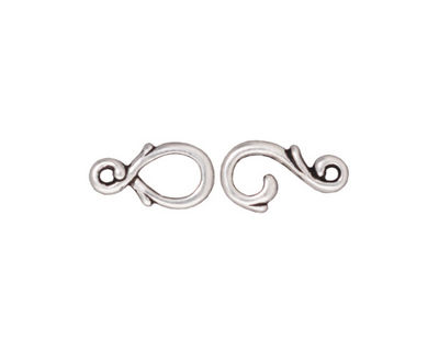 TierraCast Antique Silver (plated) Vine Hook & Eye Clasp 13x7mm