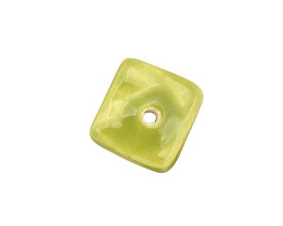 Jangles Ceramic Chartreuse Small Square Disc 15mm