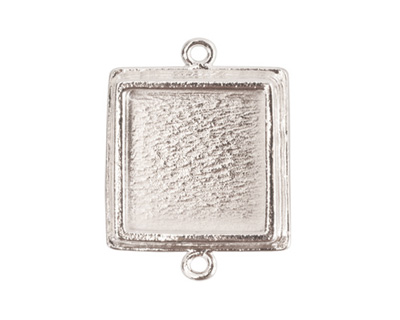 Nunn Design Sterling Silver (plated) Traditional Square Bezel Pendant Link 28x21mm
