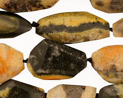 Mexican Sunflower Agate Faceted Nugget (long) 21-33x9-18mm