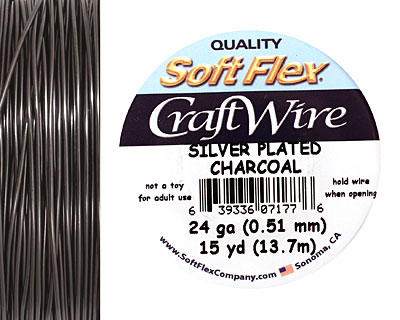 Soft Flex Silver Plated Charcoal Craft Wire 24 gauge, 15 yards