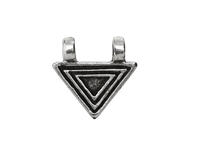 Greek Pewter Lined Small Triangle 2 Loop Pendant 20mm