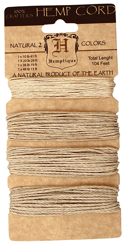 Natural Hemp Twine Multi-Weight, 104 ft total