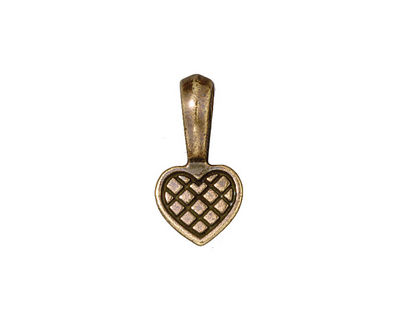 TierraCast Antique Brass (plated) Heart Bail Glue Pad 10x19mm