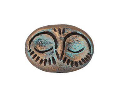 Gaea Ceramic Choco Sleeping Owl Bead 33x20mm