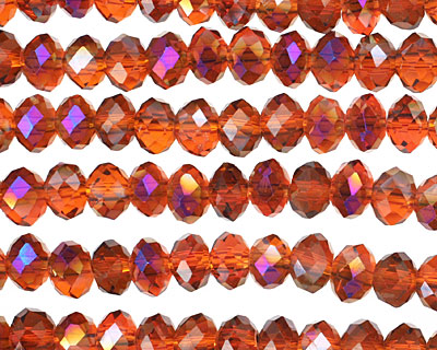 Amber & Purple AB Crystal Faceted Rondelle 6mm