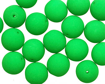 Czech Glass Bright Neon Green Round 10mm