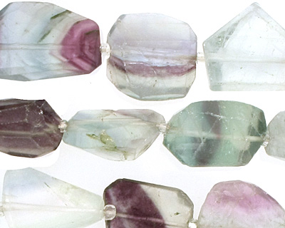 Rainbow Fluorite Faceted Nugget 15-20x10-16mm