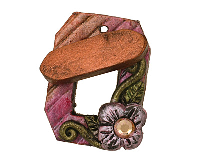 Poison Tree Polymer Clay Pink Flower Toggle Clasp 24x20mm, 21mm bar