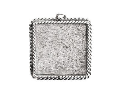 Nunn Design Antique Silver (plated) Large Ornate Square Bezel Pendant 30x34mm