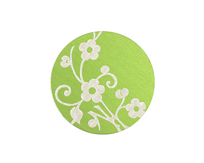 Lillypilly Lime Green Floral Vine Anodized Aluminum Disc 25mm, 24 gauge