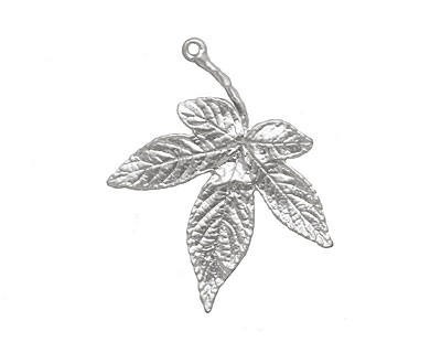 Ezel Findings Rhodium (plated) Japanese Maple Leaf Link 35x30mm