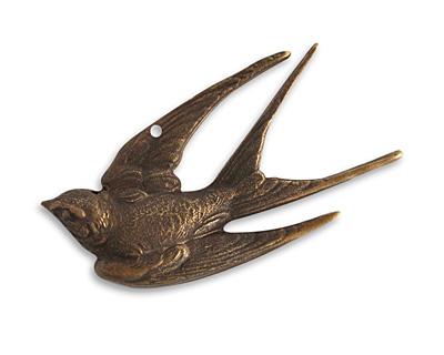 Vintaj Natural Brass Diving Sparrow Pendant 45x22mm