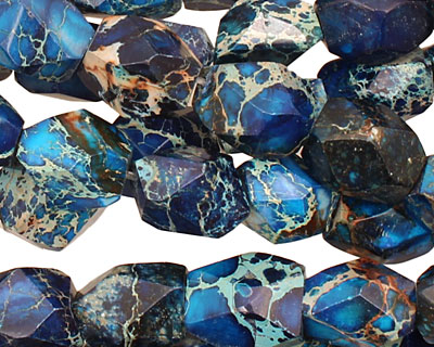 Midnight Blue Impression Jasper Faceted Nugget 13-15x11-12mm