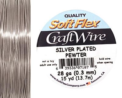 Soft Flex Silver Plated Pewter Craft Wire 28 gauge, 15 yards