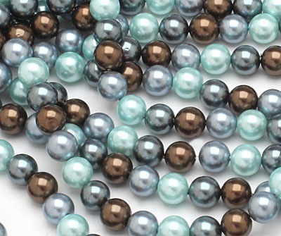 Muddy Spring Mix Shell Pearl Round 6mm