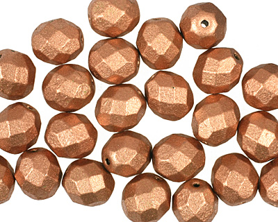 Czech Fire Polished Glass Matte Metallic Copper Round 8mm