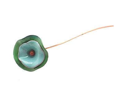 C-Koop Enameled Metal Seafoam/Hunter Large Flower Headpin 24mm