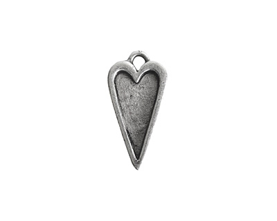 Nunn Design Antique Silver (plated) Mini Heart Bezel Pendant 10x20mm