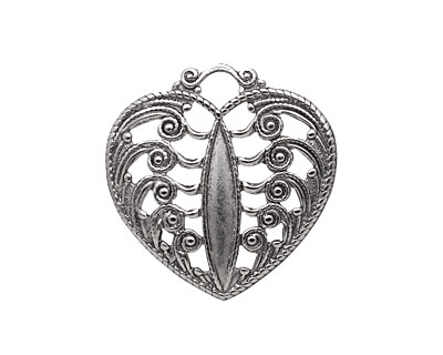Stampt Antique Pewter (plated) Scrolling Heart Filigree 24x25mm