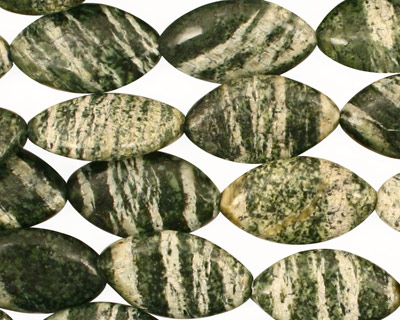 Green Zebra Jasper Horse Eye 18x10mm