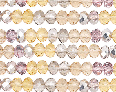 Silk Crystal Mix Faceted Rondelle 6mm