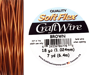 Soft Flex Brown Craft Wire 18 gauge, 7 yards