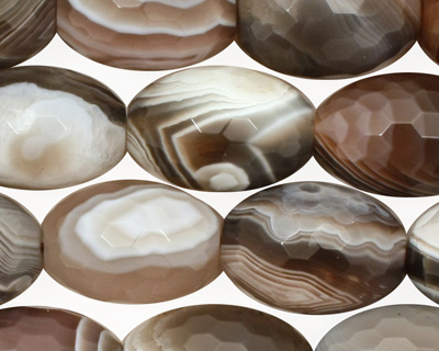 Botswana Agate Faceted Rice 18x13mm